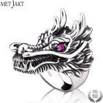 MetJakt Punk Rock Domineering Dragon Head Ring with Ruby Solid 925 <b>Sterling</b> <b>Silver</b> Ring Handmade Men's <b>Jewelry</b>