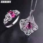 ZHHIRY Women Jewelry Sets Natural Pyrope Garnet Gem Stone Genuine 925 Sterling <b>Silver</b> Ring <b>Earring</b> Pendant Chain Fine Jewelry
