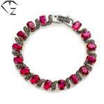 100% Real Pure 925 <b>Sterling</b> <b>Silver</b> Bracelets Blue Rose Garnet S925 Solid Thai <b>Silver</b> Chain Bracelet for Women <b>Jewelry</b> LB01