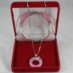 real Women's Wedding Wonderful pink stone Circle Pendants Necklace Bracelet Set no box 5.23 silver-<b>jewelry</b>