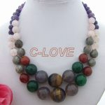 Amazing! onyx&crystal & PInk crystal& Tiger Stone <b>Necklace</b> free shipment