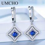 UMCHO Genuine <b>Silver</b> 925 Jewelry Round Created Nano Blue Sapphire Clip <b>Earrings</b> For Women Anniversary Gift Charms Fine Jewelry
