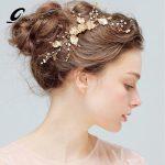 Gold Flower Leaf Crystal Hair Comb Pearls Wedding Hair Vine Headband Bridal Headpiece Hair accessories Bride <b>Fashion</b> <b>Jewelry</b>
