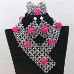 <b>Handmade</b> Silver Crystal Beads Bridal <b>Jewelry</b> Sets Nigerian Wedding Fuchsia Balls Braid African <b>Jewelry</b> Set Free Shipping ABF877