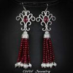 CWWZircons 11cm European Ethnic Style Long Dangling Drop Red Women <b>Wedding</b> Royal Earring <b>Jewelry</b> With Natrual Druzy Stones CZ291