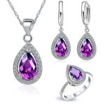JEMMIN Luxury Romantic Necklace <b>Earrings</b> Jewelry Sets Drop Shape Pendant 925 Sterling <b>Silver</b> CZ Bridal Wedding Party Jewelry