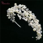 <b>Handmade</b> Rhinestone Pearl Bridal Tiaras Crown High Quality Sweet Style Wedding Hair <b>Jewelry</b> Women Girls Hairband RE768