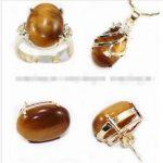 Prett Lovely Women's Wedding Tiger's Eye stone pendant Necklack ring earrings set, Crystal Healing