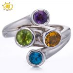Hutang 100% Genuine Gemstones 925 Sterling <b>Silver</b> Rings Fine <b>Jewelry</b> Peridot Citrine Topaz Amethyst Sterling-<b>silver</b>–<b>jewelry</b>
