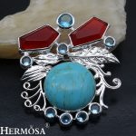 HERMOSA <b>jewelry</b> NEW natural Garnet topa z Turquoise925 sterling <b>silver</b> wedding party accessories Brooch HF2004