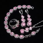 Beautiful Pink Cubic Zirconia Silver 925 <b>Jewelry</b> Sets For Women Earrings/Ring/Pendant/Necklace/Bracelet <b>Wedding</b> Set Free Box