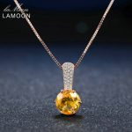 LAMOON Amber Pendant <b>Necklace</b> 925 sterling-<b>silver</b>-jewelry Women Fine Jewelry 8mm 2ct Natural Round Citrine Pendant Long <b>Necklace</b>