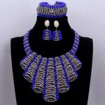 Party Bridesmaid Jewelry Set Classic <b>Silver</b> and Blue African Crystal Beads Necklace Earrings Jewelry Sets Free Shipping LXF02