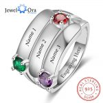Personalized Gift for Mommy Engrave 3 Names 3 Childrens Birthstone Promise Rings 925 Sterling Silver <b>Jewelry</b> (JewelOra RI103280)