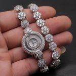 Prom Gifts Women Quartz Wristwatch Whitetopaz Fashion <b>Jewelry</b> Watch <b>Sterling</b> <b>Silver</b> Links Bracelet 7 Inches H2001