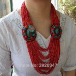 NK202 Tibet Ethnic <b>Jewelry</b> Flower Pendant Necklace <b>Handmade</b> Nepal Multi Rows Mini Beaded Necklace