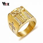 Vnox Punk Jesus Christ Cross Chunky Ring for Men Stainless Steel Crystals Religion Prayer Male Hip-hop <b>Jewelry</b> Gold Color