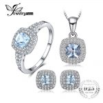 JewelryPalace Cushion 2.6ct Natural Aquamarine Halo Ring Stud <b>Earrings</b> Pendant Necklace Jewelry Sets 925 Sterling <b>Silver</b> 45cm