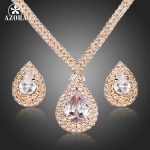 AZORA Gorgeous Gold Color Clear CZ Water Drop Pendant Necklace and Earrings <b>Jewelry</b> Sets TG0158