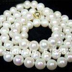 Beautiful style 8-9mm AA+ white akoya cultured pearl beads <b>making</b> Necklace 34″ MY4584