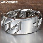 Davieslee 31mm 21cm Polished 316L Stainless Steel <b>Bracelet</b> for Men <b>Silver</b> Color Curb Cuban Link Unisex Men's Jewelry DLHB23