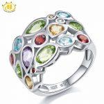 Hutang Multi Gemstone <b>Jewelry</b> Genuine Topaz Garnet Citrine Solid 925 Sterling <b>Silver</b> Cluster Ring For Women Fine <b>Jewelry</b> Gift