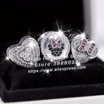 3pcs S925 Sterling Silver Minnie Mitch Heart CZ Charms <b>Jewelry</b> Set Fit DIY Bracelets Necklaces <b>Jewelry</b> <b>Making</b> Woman Gift