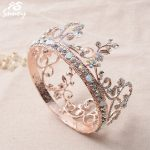 Snuoy Rose Gold Full Round Tiara Crowns Pink <b>Wedding</b> Hair Accessories Fashion Women Tiaras & Crowns Luxury Pageant Hair <b>Jewelry</b>
