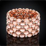 Brand Rose Gold Colour Colorful Opal Stone Bracelet & Bangle New Fashion <b>Jewelry</b> Women <b>Wedding</b> big Bracelet Pulseira