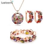 LUOTEEMI Women Accessories Mona Lisa Rose/ Champagne Gold-Color Luxury-Colorful Zirconia Drop <b>Necklace</b> Earrings Bracelet Set