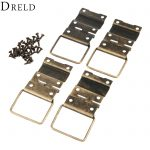 DRELD 4Pcs 29*45mm Antique Cabinet Hinges Furniture Accessories Door Hinges Drawer <b>Jewellery</b> Box Hinges For Furniture Hardware