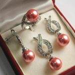Women's Wedding Hot! noble new <b>jewelry</b> plated + 12mm salmon pink shell pearl pendant, earring, , ring set real silver-<b>jewelry</b>