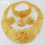 African Fashion Women 24 Gold <b>Jewelry</b> Sets Flower Shaped Design <b>Necklace</b> Ring Earrings for Women Bridal Wedding <b>Jewelry</b>