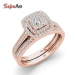 Szjinao Classic Rose Gold Color Wedding Rings for Women Men Solid 925 Sterling <b>Silver</b> Ring Sets Bohemia CZ Diamant Fine <b>Jewelry</b>