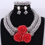 <b>Silver</b> Dubai Jewelry Set Nigerian Red Coral Flowers Beads Necklace Jewelry For Brides Women Costume Jewellery Set African New