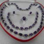 Exquisite Fancy Jewelry New Quartz crystal Natural gift true Purple CZ Earring <b>Bracelet</b> Necklace Ring ( NO box ) <b>Silver</b>