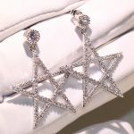 Simple Luxury <b>Jewelry</b> <b>Handmade</b> 925 Silver Pave White Clear AAA Cubic Zirconia CZ Five-pointed star Stud Earring for Women Gift