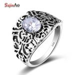 Szjinao Stardust Mesh White Zircon Crystal Rings For Women Carving Master <b>Handmade</b> Solid 925 Sterling Silver Evening <b>Jewelry</b>