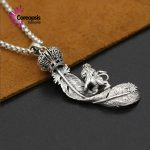 925 sterling silver <b>jewelry</b> Retro Thai Silver male and European <b>handmade</b> Crown Lion eagle feather Pendant
