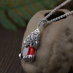 FNJ 925 Silver Pixiu Pendant New Fashion Red Zircon Stone Pure S925 Original Thai Silver Pendants for Women Men <b>Jewelry</b> <b>Making</b>