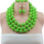 African popular heavy <b>handmade</b> beaded <b>jewelry</b> suit green three-ring Nigeria wedding party engaged bridesmaid jewellery set
