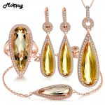 MoBuy 5pcs Pear Citrine Natural Gemstone 4pcs Jewelry Sets 100% 925 Sterling <b>Silver</b> For Women Party Fine Jewelry V047EHNR