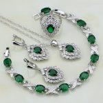 Leaves Green Cubic Zirconia White CZ 925 Sterling <b>Silver</b> Jewelry Sets For Women Wedding Ring/Earring/Pendant/Necklace/<b>Bracelet</b>