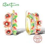 SANTUZZA <b>Silver</b> Flower Earrings For Women 925 <b>Sterling</b> <b>Silver</b> Stud Earrings <b>Silver</b> 925 Cubic Zirconia brincos <b>Jewelry</b> Enamel
