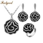 Feelgood <b>Fashion</b> Jewellery Necklace Sets Classic Black Enamel And Crystal Heavy Flower <b>Jewelry</b> Set For Bridal Wedding Party Gift