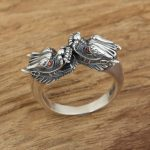 Factory wholesale sterling silver <b>jewelry</b> <b>handmade</b> Vintage Silver S925 Mens eye ring personality double tap ring