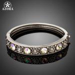 AZORA Classic Antique Silver Flower Pattern Bracelet & Bangle for Woman Shiny Austrian Crystals Bangle <b>Fashion</b> <b>Jewelry</b> TB0099