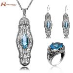 Ethiopian Wedding Jewelry Sets Blue Rhinestone Crystal For Women 925 Sterling <b>Silver</b> <b>Earrings</b> Ring Pendant Bridal Jewelry Set