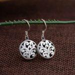 925 Silver Earring 100% S925 Sterling Silver boucle d'oreille Flower Pattern Round Drop Earrings for Women <b>Jewelry</b> <b>Making</b>