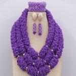 Gold Metal Beads Crystals <b>Jewelry</b> Sets New <b>Handmade</b> African Wedding Nigerian Beads Big Sage Purple Necklace Free Shipping
